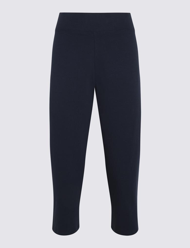 Kadın Lacivert Crop Jogger Pantolon