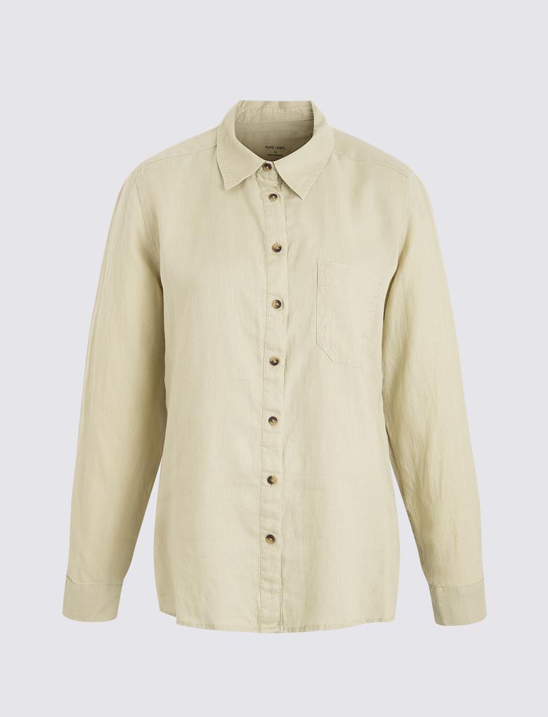 Kadın Bej Uzun Kollu Keten Gömlek