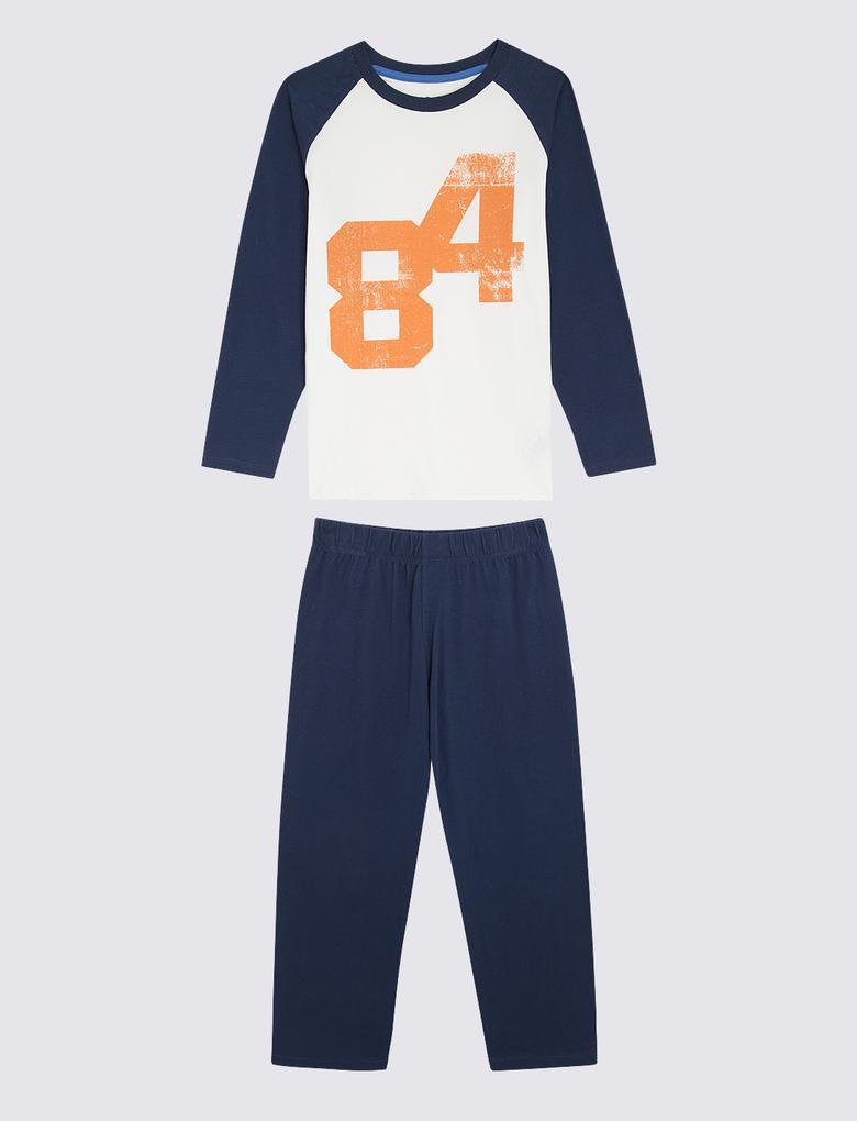 Çocuk Mavi 3'lü Desenli Pijama Seti