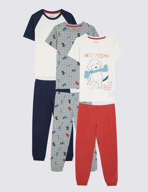 Çocuk Multi Renk 3'lü Desenli Kısa Kollu Pijama Seti