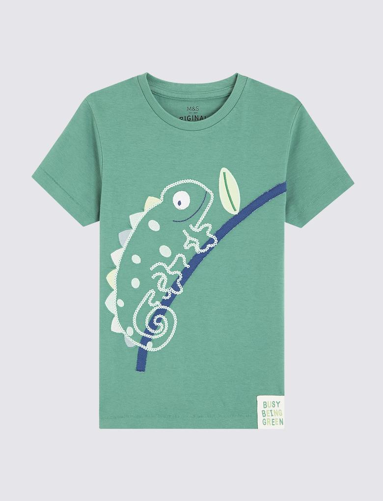 Erkek Çocuk Multi Renk Bukalemun Desenli Kısa Kollu T-Shirt