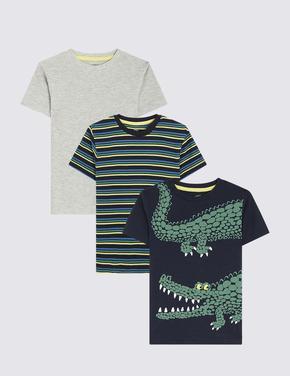 Erkek Çocuk Multi Renk 3'lü Timsah Desenli T-Shirt Seti