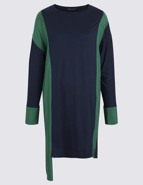 Kadın Yeşil Renk Bloklu Tunik
