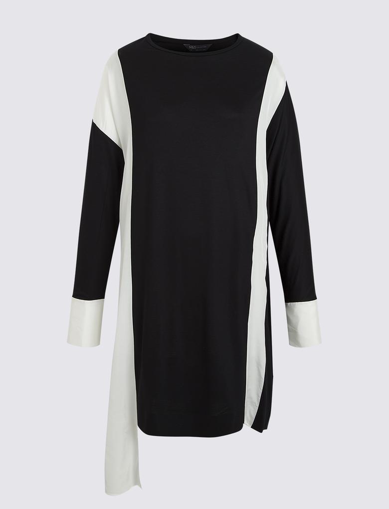 Kadın Siyah Renk Bloklu Tunik