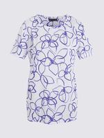 Kadın Beyaz Kısa Kollu Desenli T-Shirt