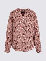 Kadın Pembe Çiçek Desenli Popover Bluz