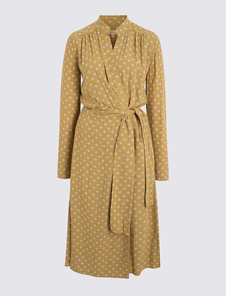 Sarı Uzun Kollu Desenli Anvelop Elbise