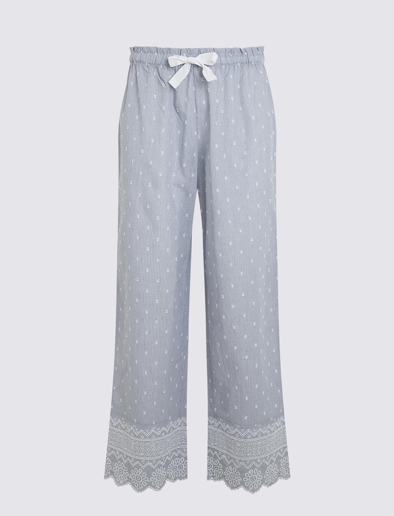 Kadın Lacivert İşlemeli Saf Pamuklu Pijama Takımı