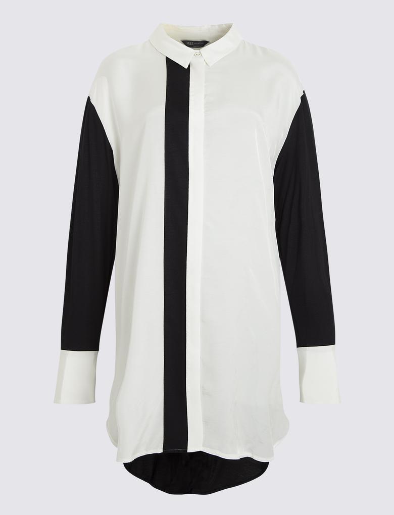 Kadın Bej Renk Bloklu Bluz