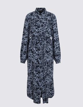 Kadın Siyah Maxi Gömlek Elbise