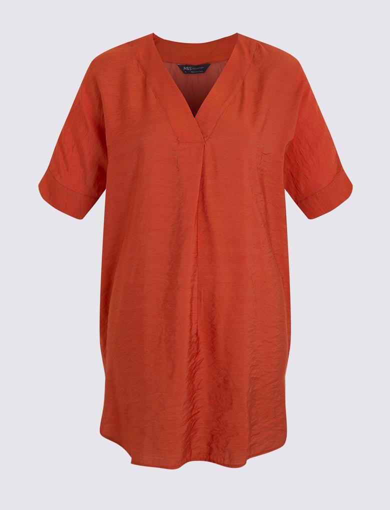 Kadın Turuncu Popover Bluz