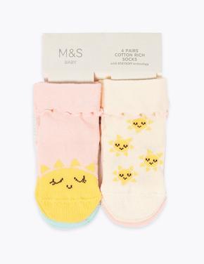 Çocuk Multi Renk 4'lü Güneş Desenli Çorap Seti