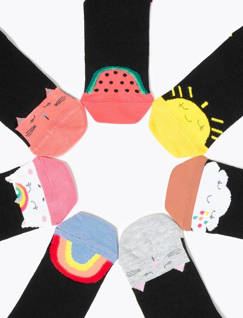 Çocuk Siyah 7'li Desenli Çorap Seti