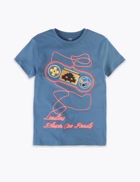 Erkek Çocuk Lacivert Kısa Kollu Desenli T-Shirt
