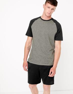 Erkek Siyah Çizgili Şortlu Pijama Takımı