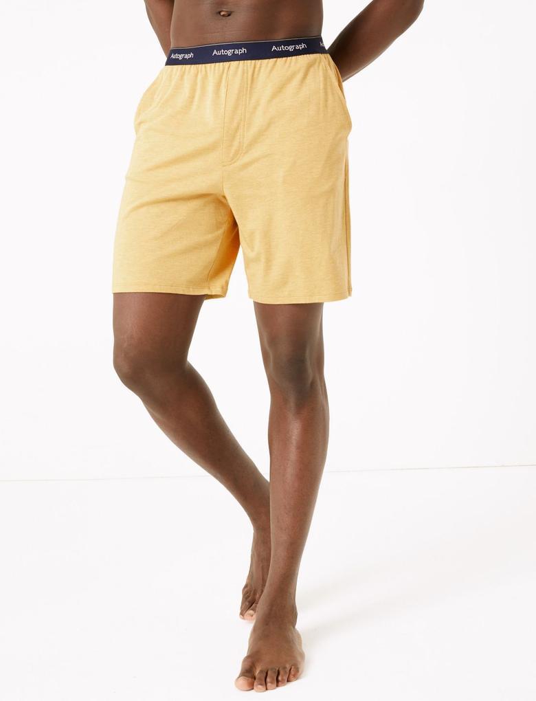 Erkek Sarı Luxury Supersoft Supima® Şort Pijama Altı