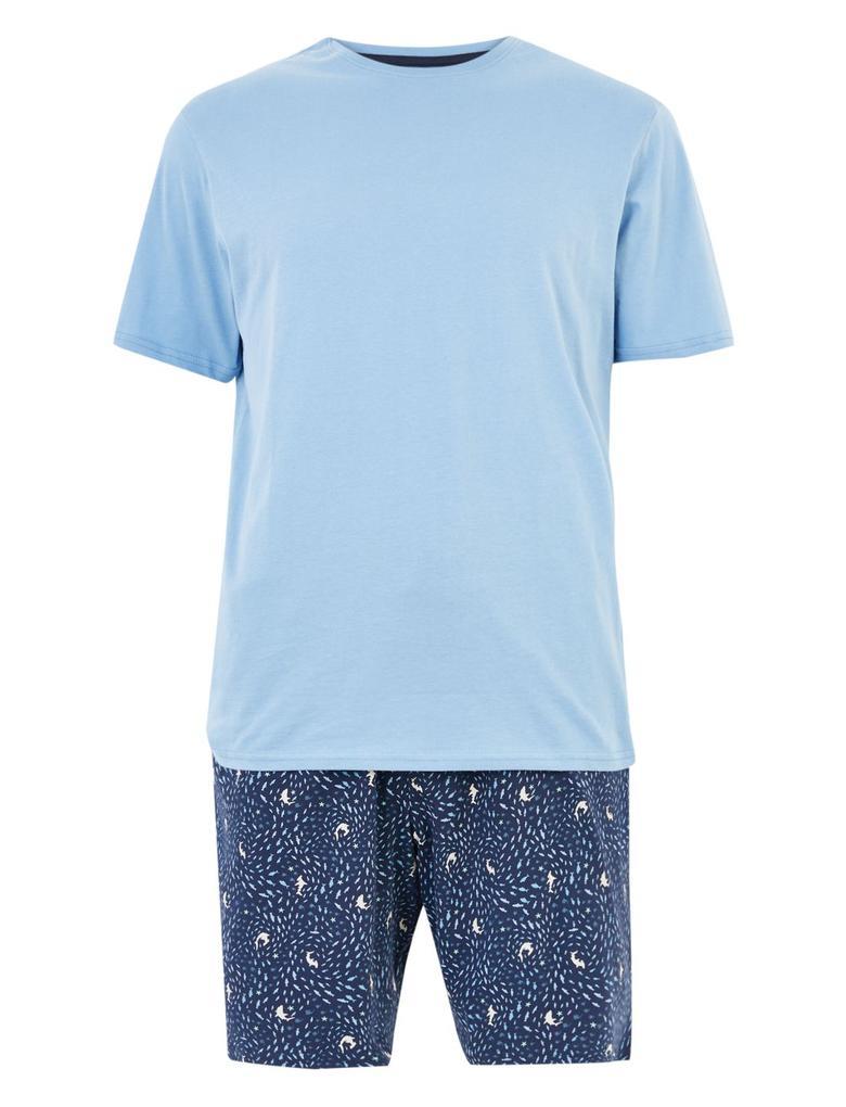Erkek Mavi Saf Pamuklu Desenli Pijama Takımı