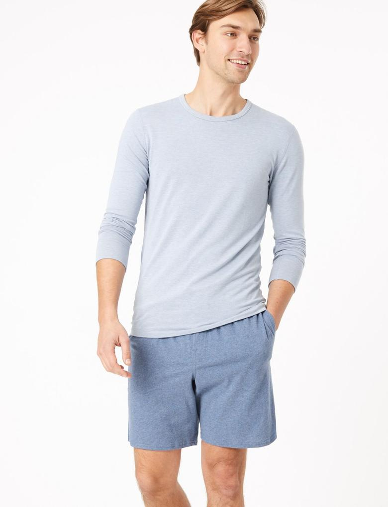Erkek Lacivert 2'li Jarse Şort Pijama Altı Seti
