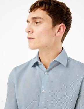 Erkek Lacivert Kolay Ütülenebilir Slim Fit Gömlek