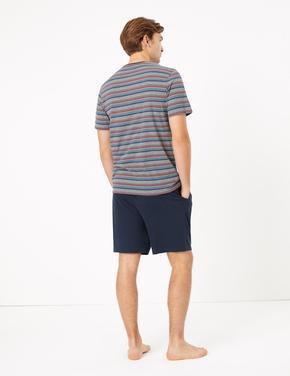 Erkek Multi Renk Çizgili Şortlu Pijama Takımı