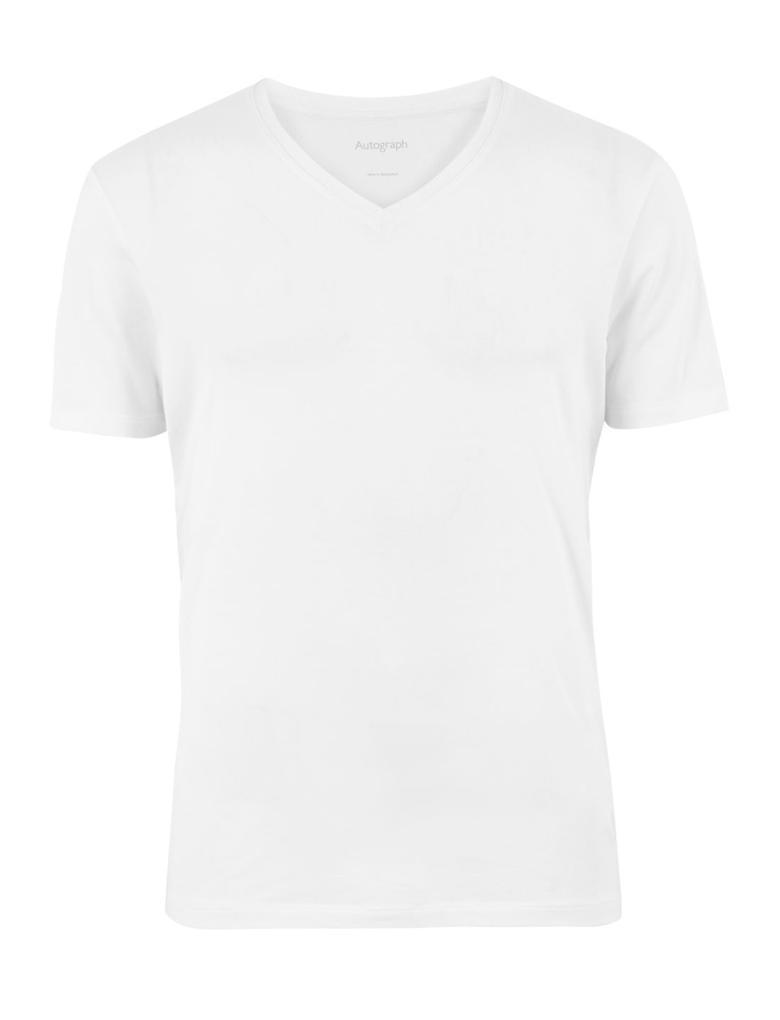 Erkek Beyaz Luxury Supima® V Yakalı Atlet