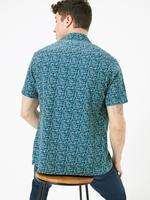 Erkek Mavi Geometrik Desenli Relaxed Fit Gömlek