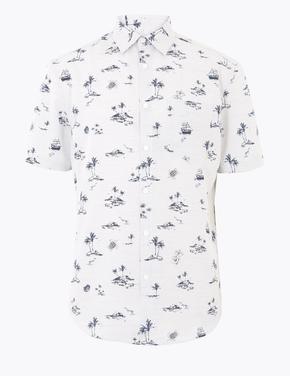 Erkek Beyaz Desenli Kolay Ütülenebilir Gömlek
