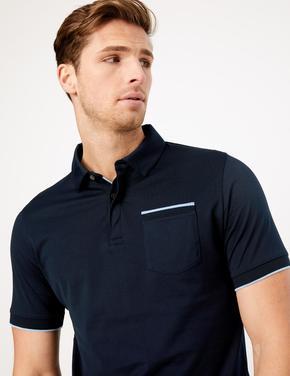 Erkek Lacivert Kısa Kollu Polo Yaka T-Shirt