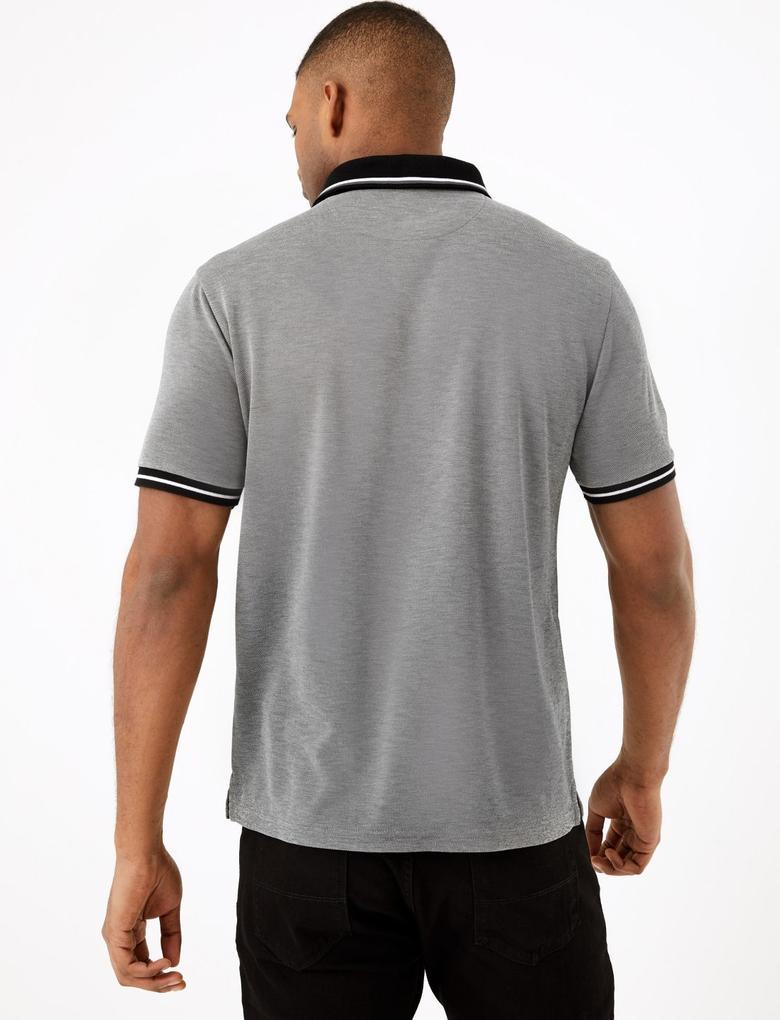 Gri Dokulu Polo Yaka T-Shirt