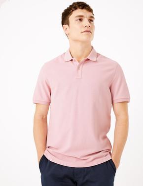Erkek Pembe Saf Pamuklu Polo Yaka T-Shirt