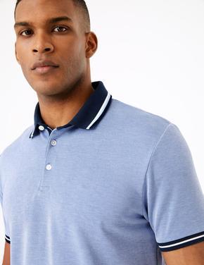 Mavi Dokulu Polo Yaka T-Shirt