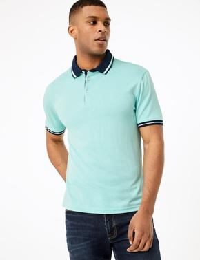 Yeşil Dokulu Polo Yaka T-Shirt