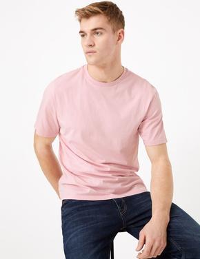 Erkek Pembe Saf Pamuklu Yuvarlak Yaka T-shirt