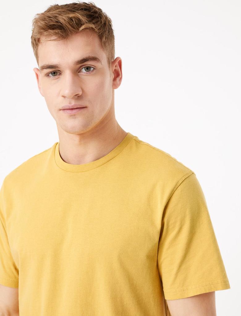 Erkek Sarı Saf Pamuklu Yuvarlak Yaka T-shirt