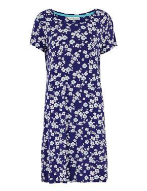 Kadın Mavi Kısa Kollu Çiçek Desenli Gecelik
