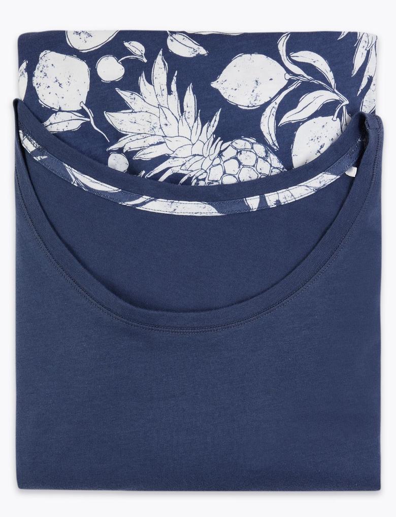 Kadın Mavi Desenli Crop Pijama Takımı