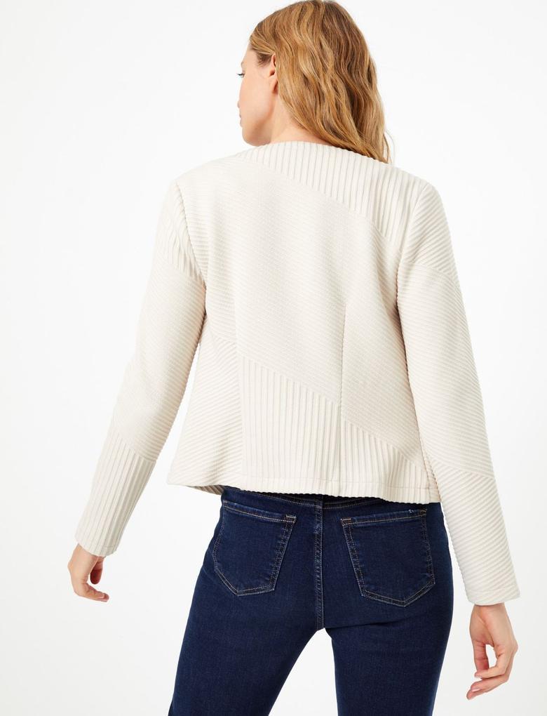 Kadın Renksiz Fermuarlı Jakarlı Ceket