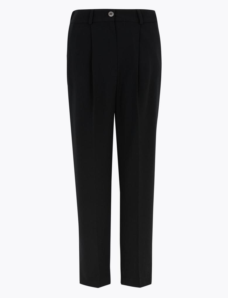 Kadın Siyah Tapered Leg 7/8 Pantolon