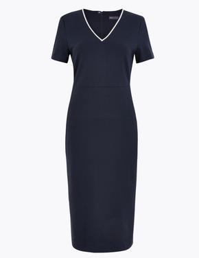 Kadın Lacivert V Yaka Kısa Kollu Elbise