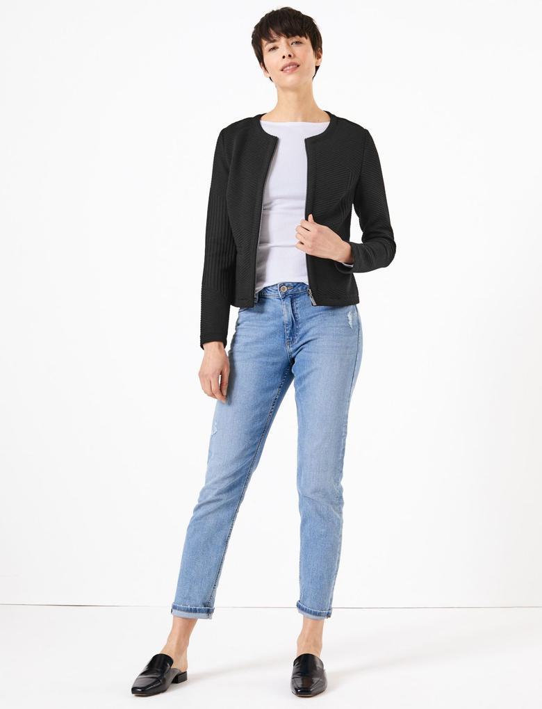 Kadın Siyah Fermuarlı Jakarlı Ceket