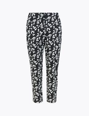 Kadın Siyah Mia Slim Çiçek Desenli Crop Pantolon