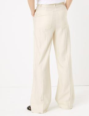 Kadın Renksiz Wide Leg Keten Pantolon