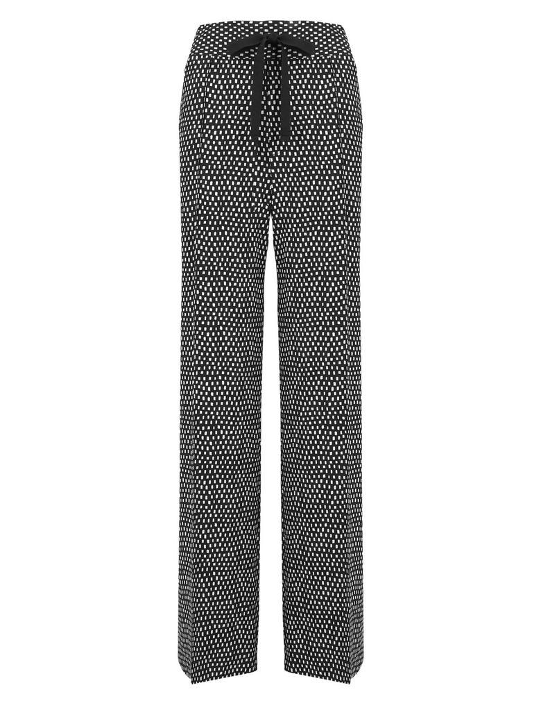 Kadın Siyah Desenli Wide Leg Pantolon