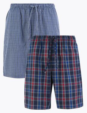 Erkek Mavi 2'li Ekose Pijama Altı Seti