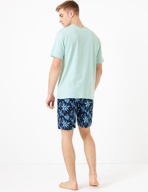 Erkek Lacivert Yaprak Desenli Pijama Takımı
