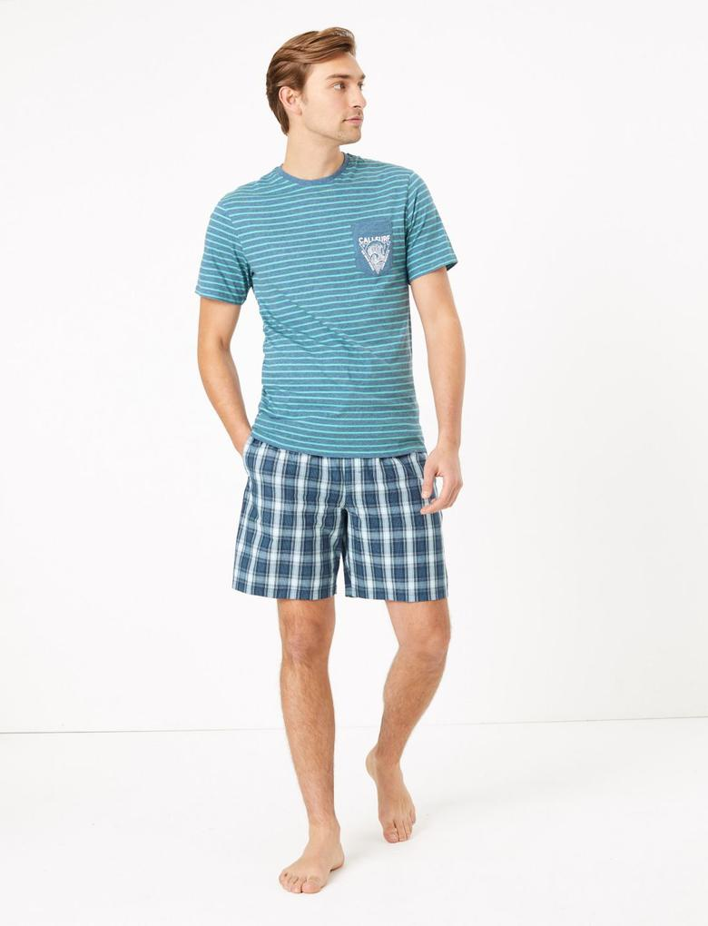 Erkek Mavi Desenli Saf Pamuklu Pijama Takımı