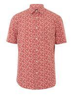 Erkek Pembe Palmiye Ağacı Desenli Gömlek