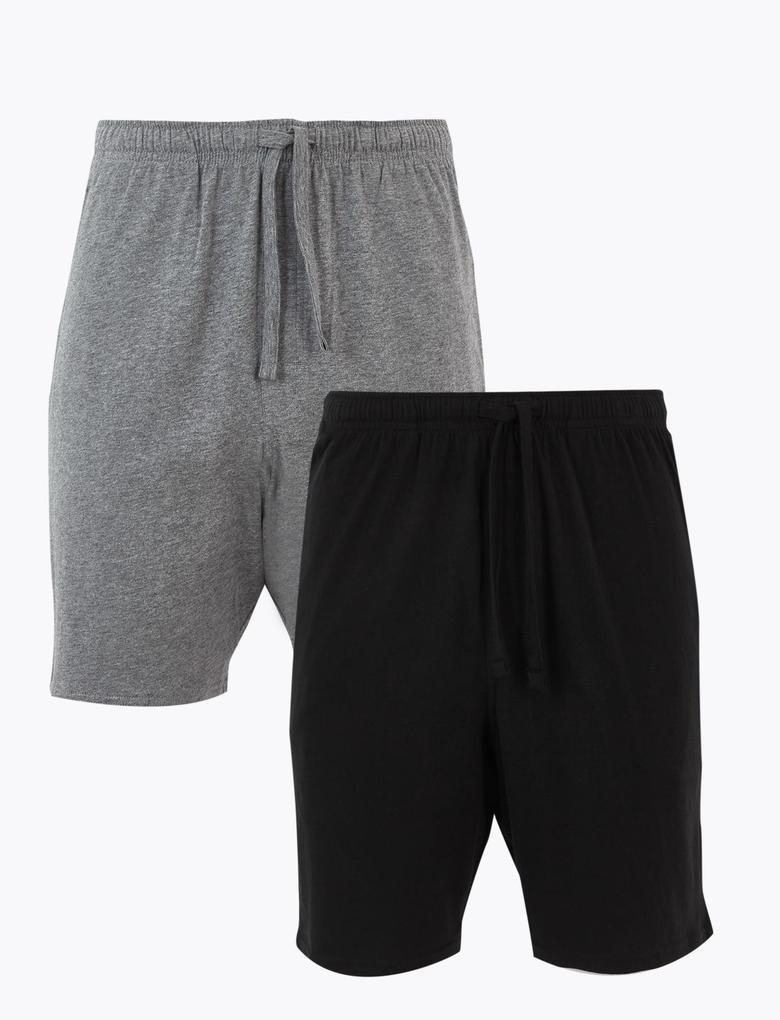 Erkek Siyah 2'li Jarse Şort Pijama Altı Seti