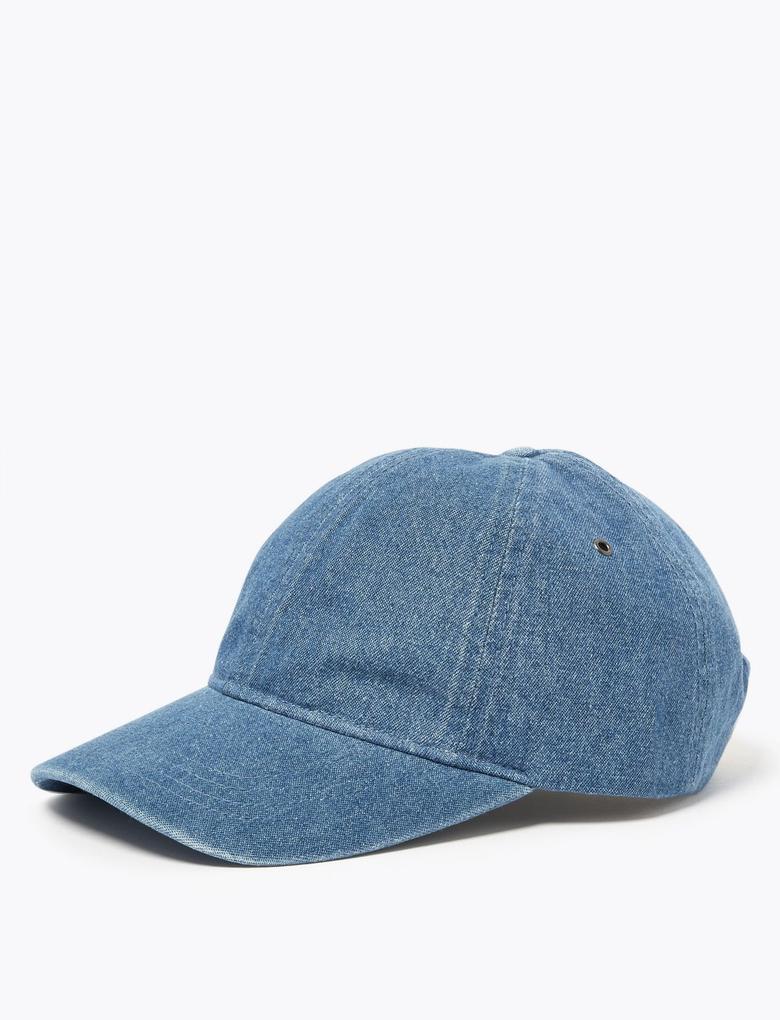 Erkek Mavi Denim Beyzbol Şapkası