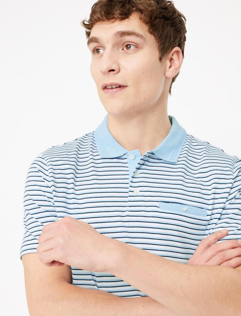 Mavi Çizgili Polo Yaka T-shirt
